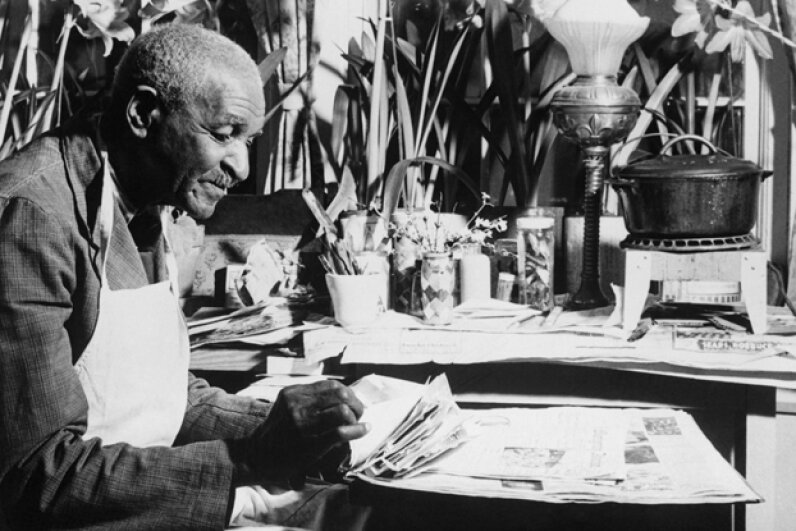 Although George Washington Carver's parents were slaves, he earned a master's degree and became a famous botanist. © Bettmann/CORBIS