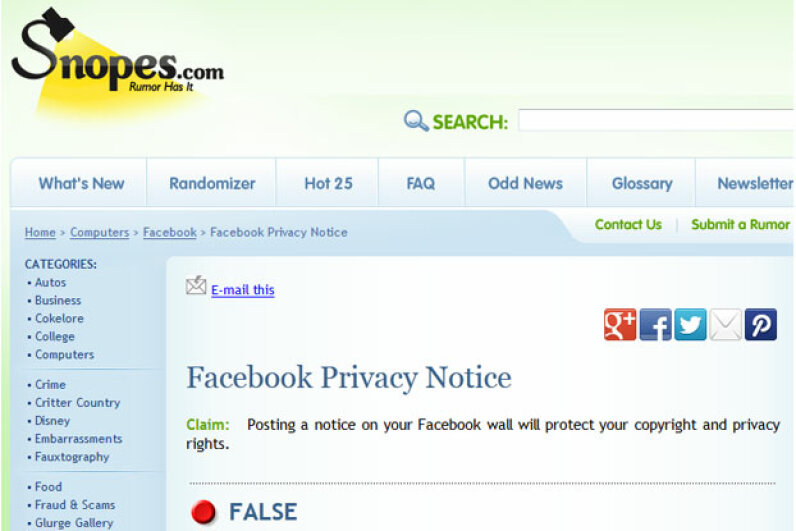 Snopes investigates Internet claims and rumors, and always cites sources. Screen capture by HowStuffWorks staff