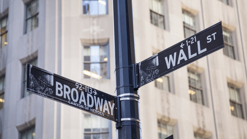 Intersection of Broadway and Wall Street in New York City