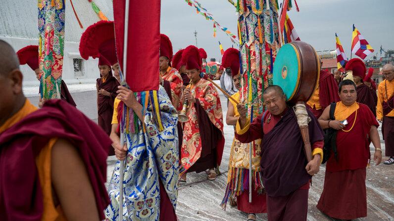 Buddhist monks, parade