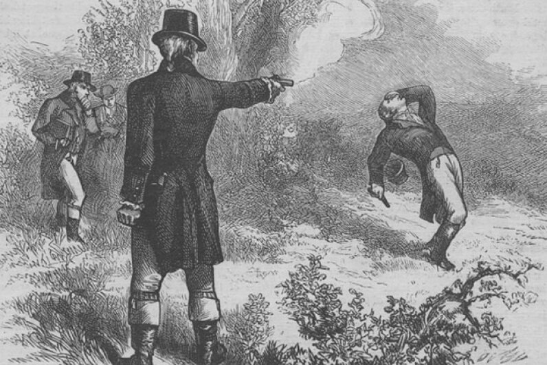 An engraving of Alexander Hamilton's duel with Aaron Burr on July 11, 1804. Hamilton died from his wounds the following day.   © Kean Collection/Getty Images
