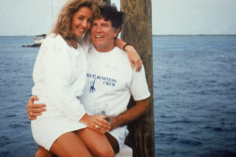 The infamous 1987 lap-sitting photograph of Gary Hart and Donna Rice ©National Enquirer/Getty Images
