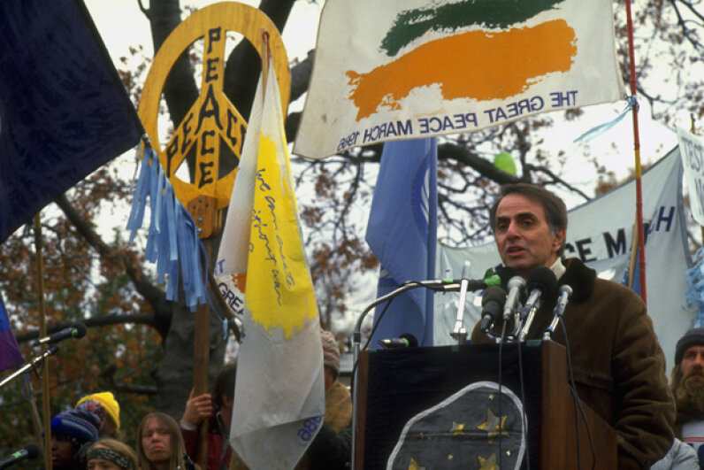 In addition to his other activities, Carl Sagan was also an anti-nuclear weapon advocate. Here, he speaks at the Great Peace March in Washington, D.C., 1986. © Joseph Sohm/Visions of America/Corbis