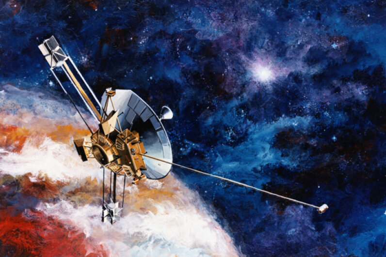 An artist's rendering of Pioneer 10, an American Spaceprobe launched in 1973. Should it reach another galaxy and be found by other intelligent beings, it carries a plaque designed by Carl Sagan to identify us humans on Earth as its source. © Bettmann/CORBIS