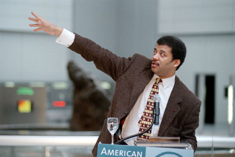 Neil de Grasse Tyson, astrophysicist and director of the Hayden Planetarium, speaks during a press tour at the Rose Center for Earth and Space of American Museum of Natural History in New York, 2000. Chris Hondros/Getty Images