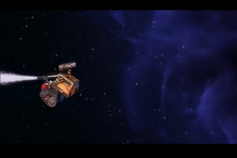 Wall-E uses the thrust of the extinguisher to propel himself in the opposite direction of the nozzle spray.  Screen capture by HowStuffWorks staff