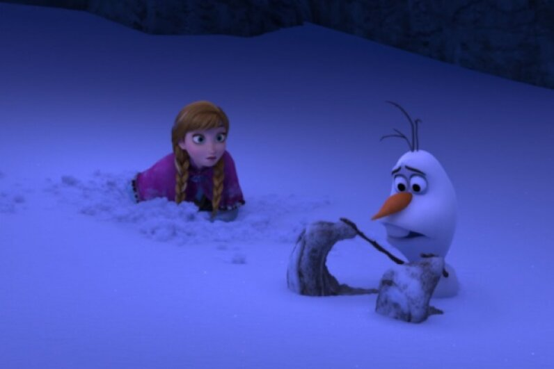 Other than some confusion as to the location of his feet, Olaf survives his long fall with no complications.  Screen capture by HowStuffWorks staff