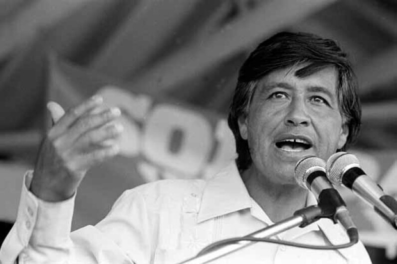American labor leader and co-founder of the United Farm Workers Cesar Chavez speaks at a rally in Coachella, California in the '70s. Cathy Murphy/Getty Images