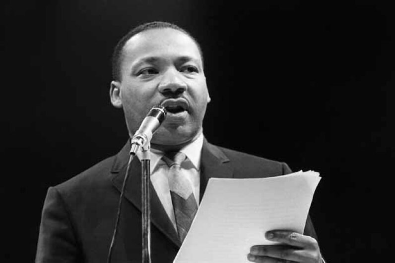 Dr. Martin Luther King gives an address in Paris in 1966. AFP/Getty Images