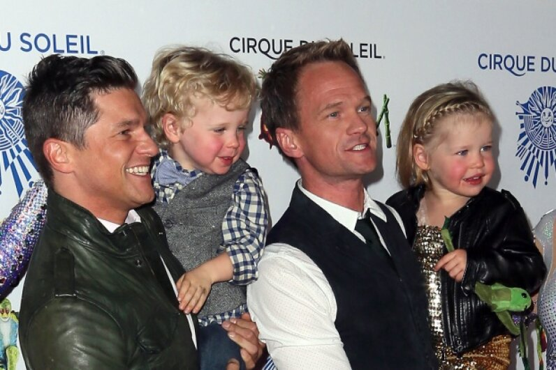 "Neil Patrick Harris and his family at opening night of Cirque du Soleil's ""Totem"" in January 2014. © David Livingston/Getty Images"