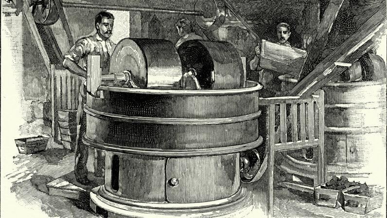 Confectioners using a pug mill, Fry's Victorian chocolate factory