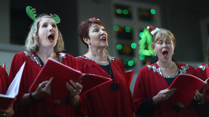 Choir group singing Christmas carols