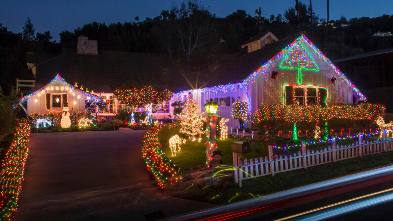 Christmas lights, house, night