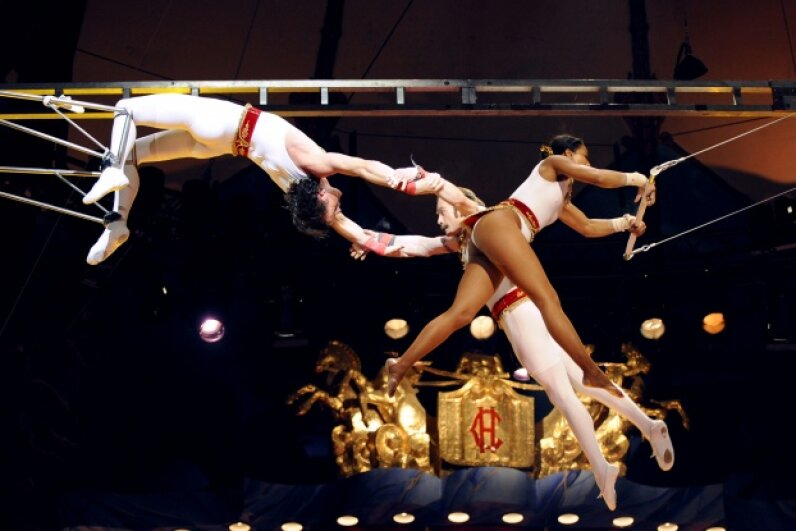 The trapeze has been a circus staple since the act's first performance in 1859. BERTRAND GUAY/AFP/Getty Images