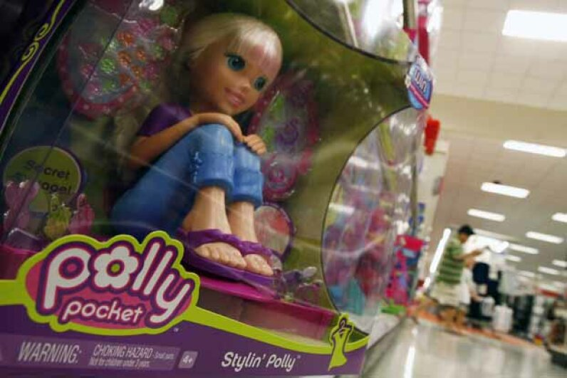 A Polly Pocket doll sits on a store shelf in Arlington, Va. in 2007. Mattel recalled millions of these due to reports of children ingesting the small, powerful magnets. © JIM YOUNG/Reuters/Corbis