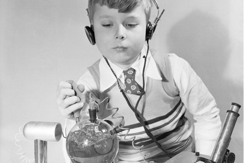 Back in 1950, the Atomic Energy Lab was on display at the American Toy Fair.   Although it included radioactive materials, and a workable Geiger counter, the makers stressed the set was harmless. © Bettmann/CORBIS