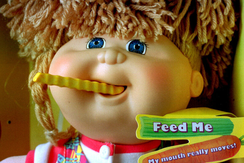 The Cabbage Patch Kids Snacktime Kids just didn't know when to quit. Children's fingers and hair were fair game as well as plastic french fries. © Brooks Kraft/Sygma/Corbis