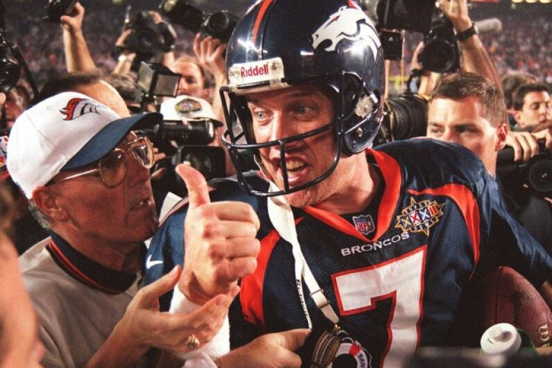 When John Elway and his fellow Broncos won the Super Bowl two years running in 1998 and 1999, the Super Bowl-stock market connection fell apart. Doug Collier/AFP/Getty Images