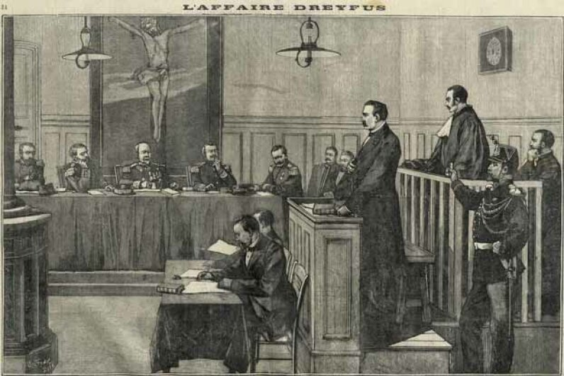 Engraving from a French newspaper shows the trial of Colonel Esterhazy during the Dreyfus Affair of 1898. Leemage/Universal Images Group/Getty Images