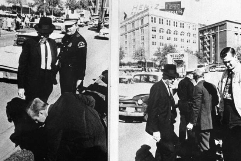 In 1963 D.A. Jim Garrison released pictures that he said proved a conspiracy in Pres. John Kennedy's assassination.  They showed a federal agent picking up a .45 caliber bullet (L) and clenching it in his fist (R) as he turns his head and walks away. © Bettmann/CORBIS