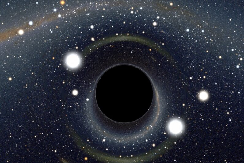 Some posit that if black holes such as the one pictured here exist, white holes that behave in the opposite manner must also exist. © Alain Riazuelo, courtesy of NASA