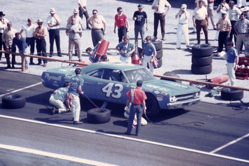 Richard Petty drove this Plymouth Road Runner after crashing his Superbird in practice, only to wreck the Road Runner, too. RacingOne/ISC Images & Archives via Getty Images