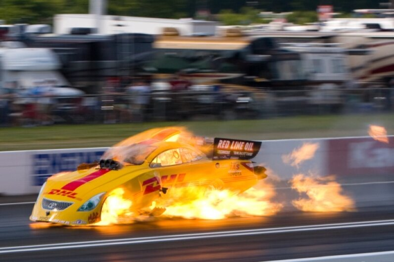 "Scott Kalitta's Funny Car burst into flames when the engine exploded. Kalitta's fatal crash catalyzed the National Hot Rod Association to make major changes to the sport. © 2008 sdowden/""Scott Kalitta""/CC BY-NC-ND 3.0"