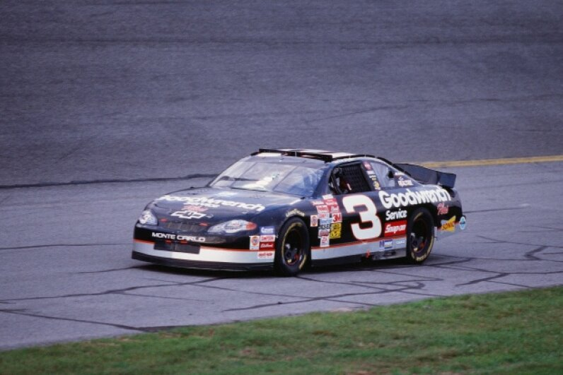 Dale Earnhardt drives during practice for the 2001 Daytona 500, a race that would prove fatal for the accomplished driver. The Sporting News/Sporting News/Getty Images