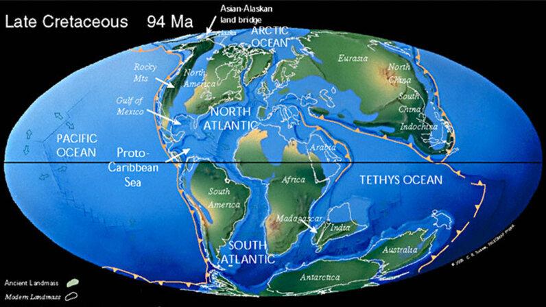 Cretaceous, map