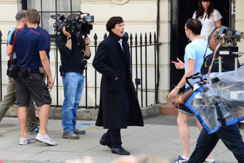 "Benedict Cumberbatch filming ""Sherlock"" in London in 2013. Harlem Mepham/FilmMagic/Getty Images"