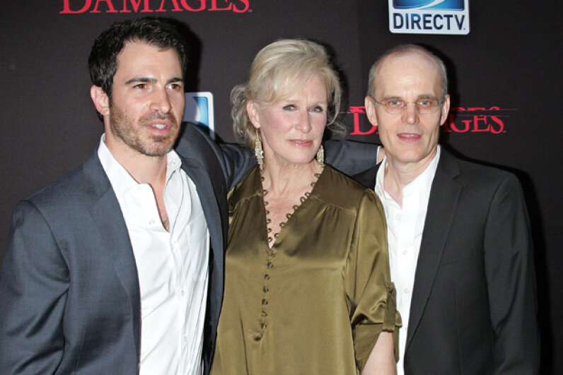 Actors Chris Messina, Glenn Close and Zeljko Ivanek attend the ''Damages'' Season 4 premiere in 2011. Jim Spellman/Getty Images