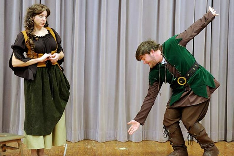 Beth Blaloc plays the miller's daughter while Nic Wysong plays Rumpelstiltskin in this rehearsal for the Storyland theater production of 'Rumpelstiltskin' in Augusta, Georgia. © Jackie Ricciardi/ZUMA Press/Corbis