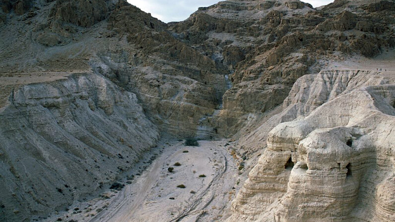 The cave area near the ancient Qumran settlement where the first Dead Sea Scrolls were found in 1947. DeAgostini/Getty Images