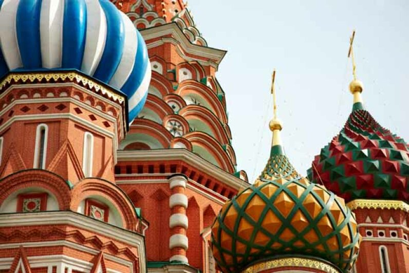 A close-up of the famous St. Basil's Cathedral in Moscow, Russia. Even though Pres. Putin called the U.S. a parasite, that did not stop Russia from buying ever-more U.S. securities. Ingram Publishing/Thinkstock