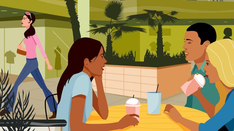 illustration of people having cofee