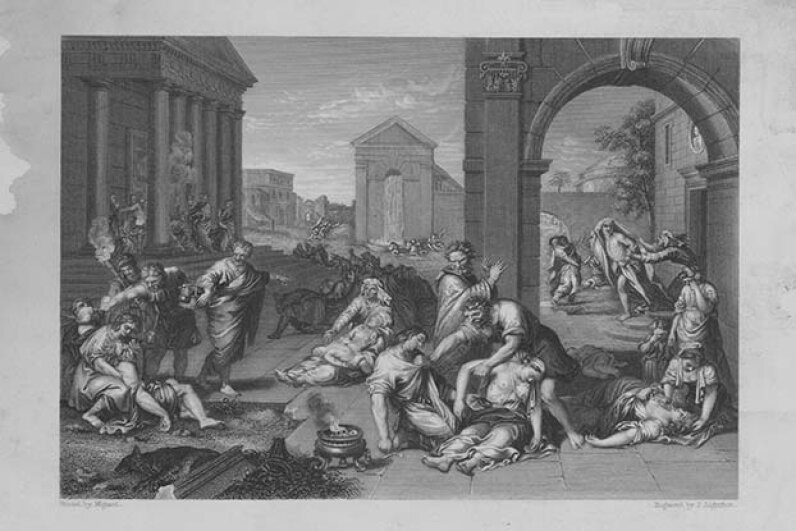 This engraving from 1754 depicted a plague epidemic in Greco-Roman times. The plague has broken out in different countries through the centuries but none as horrific as the outbreak in 14th century Europe. Archive Photos/Getty Images