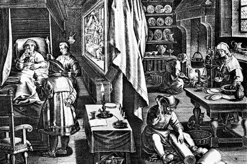 This engraving shows a doctor attempting to cure a man of syphilis in the 16th century. © Bettmann/CORBIS