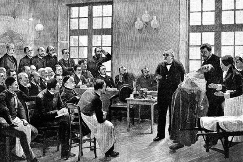 French neurologist Jean-Martin Charcot gives a clinical lecture at the Salpetriere hospital, Paris in 1887, while hypnotizing a hysterical patient. Charcot, the father of neurology, was director of the hospital and also named Parkinson's disease. Oxford Science Archive/Print Collector/Getty Images