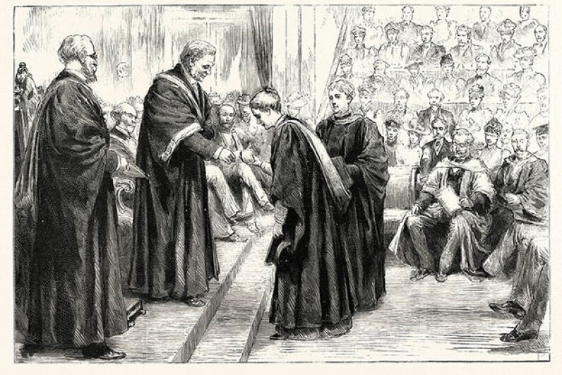 Vice chancellor of London University, Sir James Paget, confers degrees to students. Paget, a well-known surgeon and pathologist, gave his name to several diseases. Universal History Archive/UIG via Getty Images