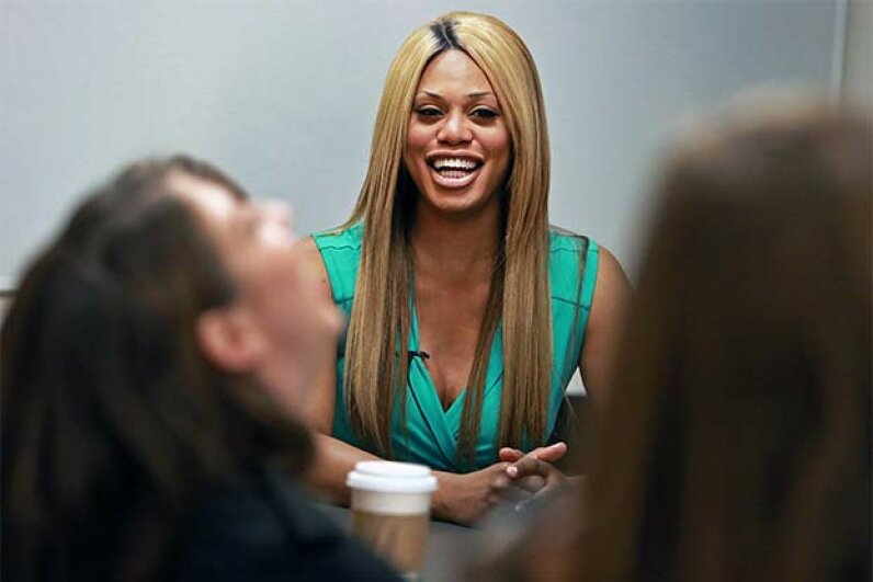 Transgender actress and advocate Laverne Cox, who is in the Netflix series 'Orange is the New Black' met with student journalists at Emerson College for a group interview in 2013. Jim Davis/The Boston Globe via Getty Images