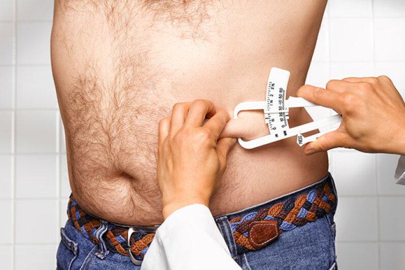 man getting BMI test