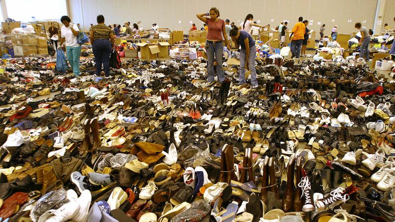 Katrina, shoe donations