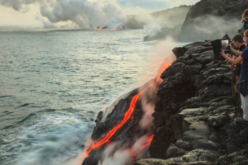 The lava flow from the Kilauea volcano makes for an excellent picture. Cultura RM/Stuart Westmorland/Getty Images