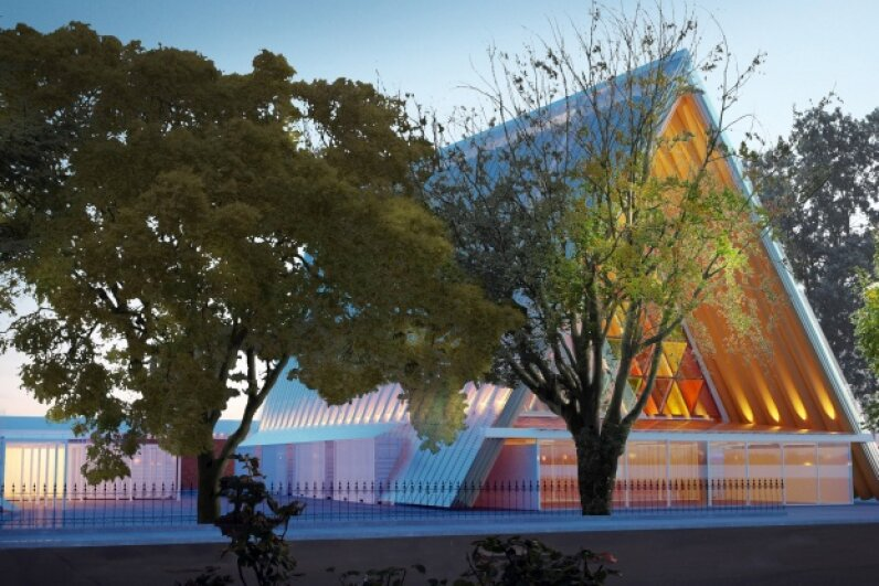 In this illustration, you can see the cardboard cathedral designed by Japanese architect Shigeru Ban. The temporary structure, which also uses timber, steel and a concrete base, will accommodate 700 patrons while a permanent cathedral is built. Christchurch Cathedral via Getty Images