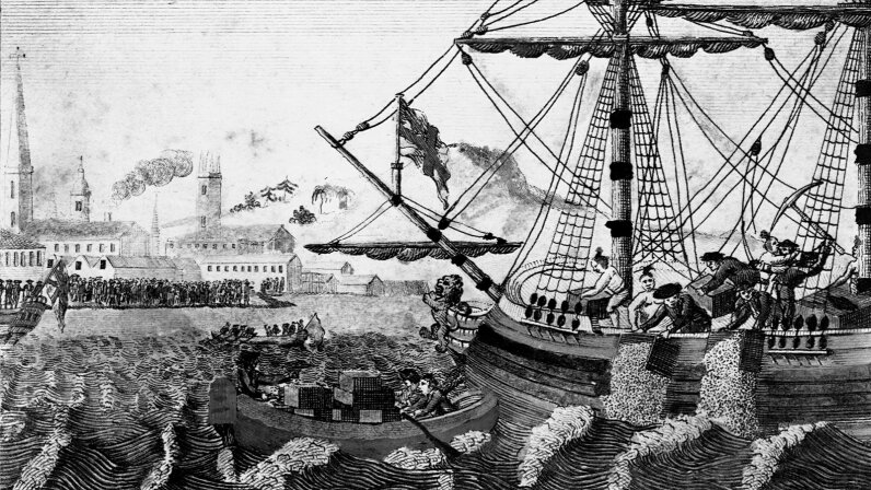 Colonists dump tea into Boston Harbor in protest of the British tea tax