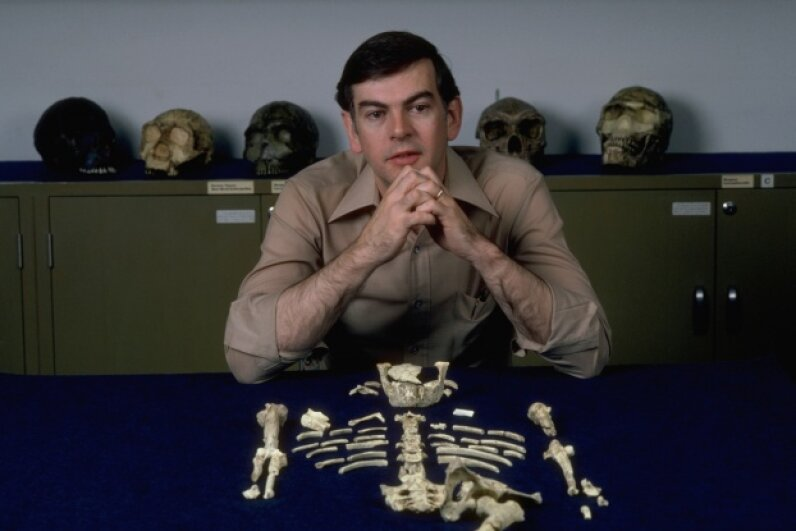 "Paleoanthropologist Donald Johanson and his find, ""Lucy,"" the first nearly complete Australopithicus afarensis discovered. Morton Beebe/Historical/Corbis"