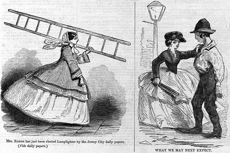 Although most lamplighters were men, occasionally women did the work too, such as Mrs. Ann Eaton from Jersey City, New Jersey in 1857. © CORBIS