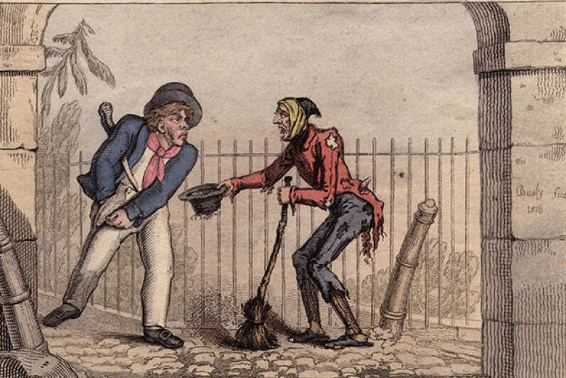 In this illustration, a crossing sweeper attempts to get a larger tip with a sad story; most sweepers were poor boys and men. Hulton Archive/Getty Images