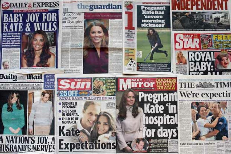 A selection of British newspapers profile the Duchess of Cambridge's pregnancy.  Note the different angles they take. Dan Kitwood/Getty Images