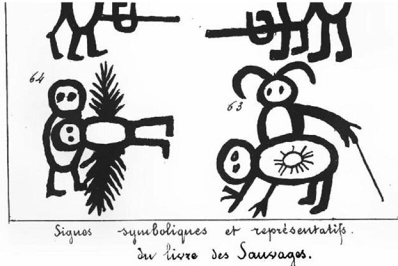 "Domenech mistook these crude drawings made by a child for Native American symbols. Portion of page 56 of Domenech's 1861 book ""Le verite sur le Livre des sauvages,"" retrieved from Google Books"